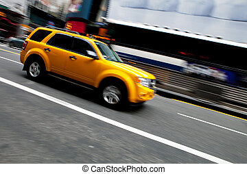 Speeding NYC Taxi SUV
