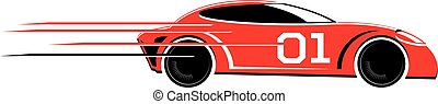 Speeding race car vector icon