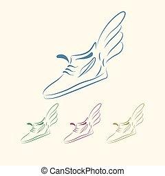 Speeding running shoe icons