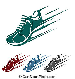 Speeding running shoe icons in four color variations with a trainer, sneaker or sports shoe with speed and motion trails, vector silhouette on white