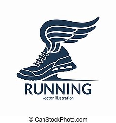 Speeding running shoe symbol, icon, logo. Sneaker silhouette...