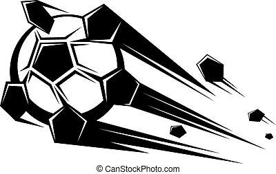 Speeding soccer ball loosing its pentagons