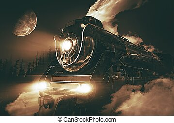 Speeding Steam Locomotive Crossing Rocky Mountains at Night.