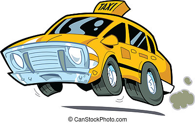 Speeding Taxi - Cartoon Illustration of a Speeding New York...