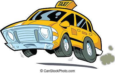 Speeding Taxi - Cartoon Illustration of a Speeding New York...