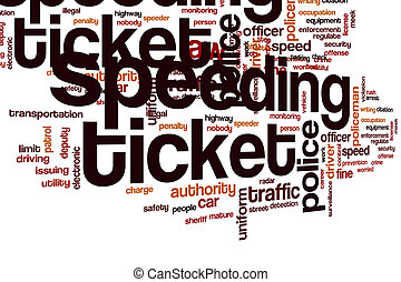 Speeding ticket word cloud concept