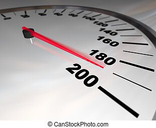 Speeding to the Limit - A white automobile speedometer with...