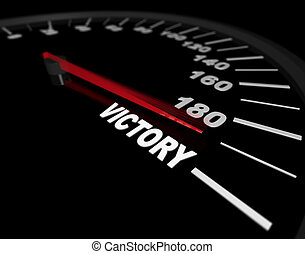 A speedometer showing the needle pushing toward the word Victory