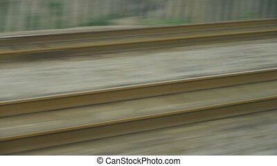 Speeding train travel,scenery