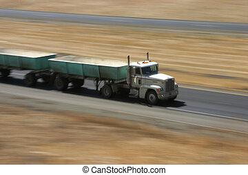 Speeding Truck 4 - A tractor-trailer hauls some stuff down...