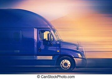 Speeding Truck Concept - Rush Trucking. Speeding Blue Semi...