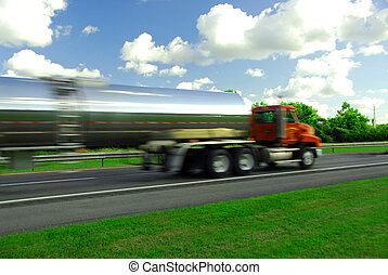 Speeding truck gasoline - Speeding truck delivering gasoline...