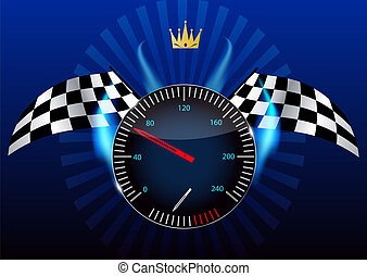 speedometer., ベクトル, illustration., checkered の 旗