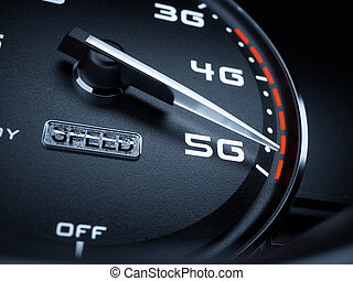 Speedometer 5G evolution - Wireless network speed concept,...
