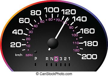 speedometer., accelererande, instrumentbräda