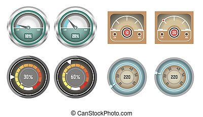 Speedometer, fuel volume indicator, speed set. Pointer, number, color, percentage indication. Round, square tableau, measure and display of increase or decrease, traffic, performance. Vector.