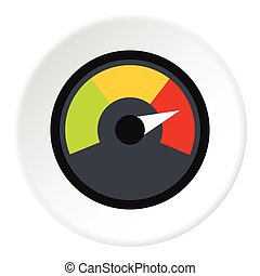 odometer icon. speedometer at maximum speed icon, flat style odometer icon s