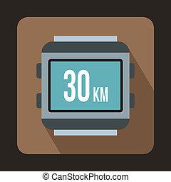 Speedometer bike icon, flat style