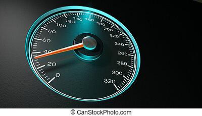 Speedometer Blue Fast Speed - A regular speedometer with...