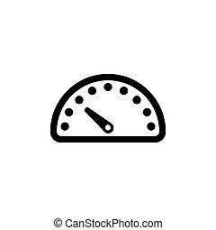 Speedometer, Car Speed Meter Flat Vector Icon