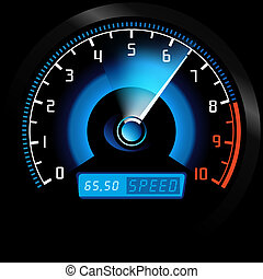 Speedometer - Colored Illustration, Vector