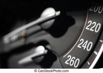 Speedometer detail - Close up shot of a speedometer in a...