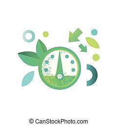Speedometer, eco friendly technologies vector Illustration ...