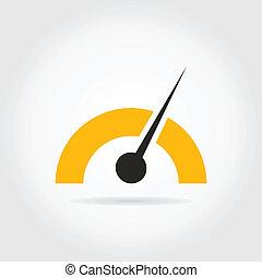 Speedometer - Arrow on a speedometer. A vector illustration