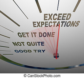 A speedometer with the words Exceed Expectations represents the surpassing of expectations of the people you deal with, whether they are customers, superiors or others who need things from you