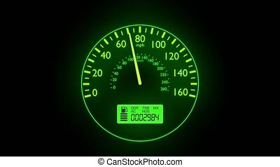Speedometer fast car automobile speed dashboard accelerate mph kph light
