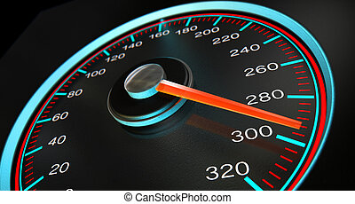 A regular speedometer with glowing blue and red markings with a red needle pointing towards a high speed on an isolated black background