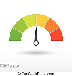 Speedometer flat icon. Sign colorful speedometer. Vector...
