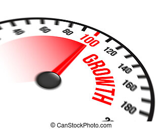 Speedometer Focused on a Hundred Percent Growth