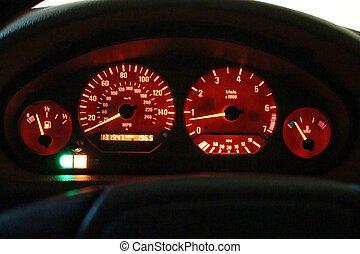 Speedometer gauge at night