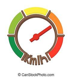 Speedometer icon, cartoon style