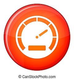 Speedometer icon, flat style