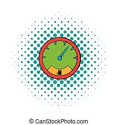 Speedometer icon in comics style