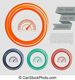 Speedometer icon on the red, blue, green, orange buttons for your website and design with space text. Vector