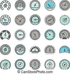 Speedometer icon set line color vector - Speedometer icon ...