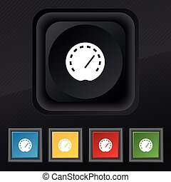 speedometer Icon symbol. Set of five colorful, stylish buttons on black texture for your design. Vector