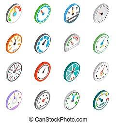 Speedometer icons set, isometric 3d style