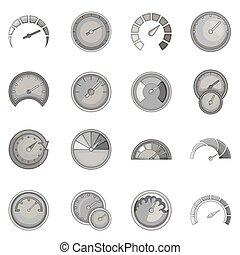 Speedometer icons set, monochrome style