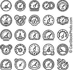 Speedometer icons set, outline style - Speedometer icons set...
