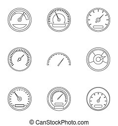 Speedometer icons set, outline style