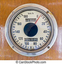 Speedometer in an old train