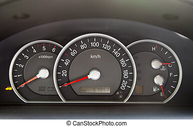Speedometer in the car - Speedometer and other gauges in the...