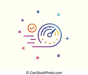 Speedometer line icon. Time concept sign. Vector