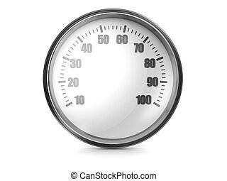 Speedometer - Modern car speedometer isolated on a white...