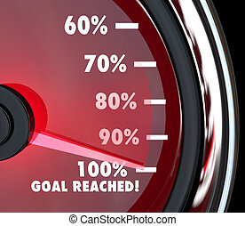 Speedometer Needle Hits 100 Percent Goal Reached - A red...