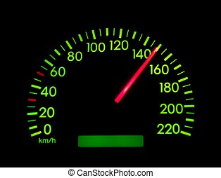 Speedometer of a car showing 150
